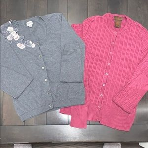 Lot 2 cardigans grey pin up style and magenta